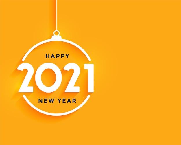 Gelukkig nieuwjaarswenskaart met met witte cijfers 2021 in vorm van kerstmisbal op oranje Gratis Vector