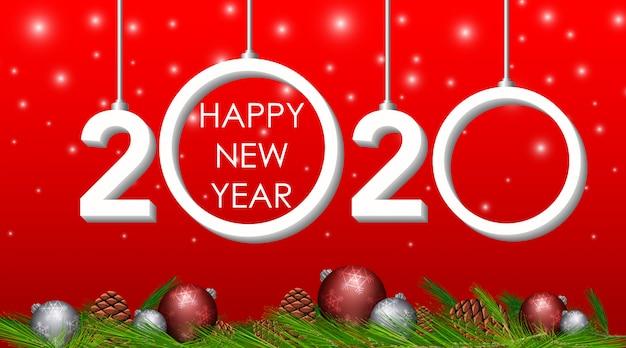 Gelukkig nieuwjaarswenskaartontwerp voor 2020 Gratis Vector