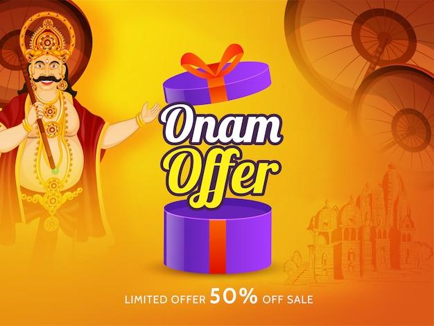 Gelukkig onam-verkoopaffiche of bannerontwerp Premium Vector