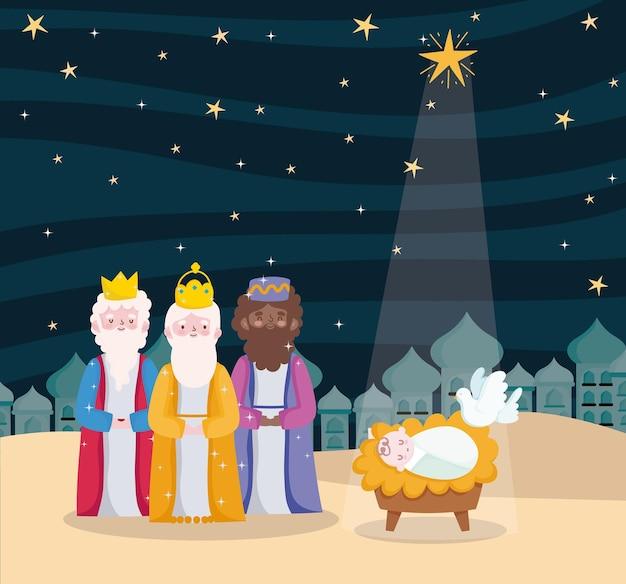 Gelukkig openbaring, drie wijze koningen baby jezus duif en heldere ster aan de hemel Premium Vector