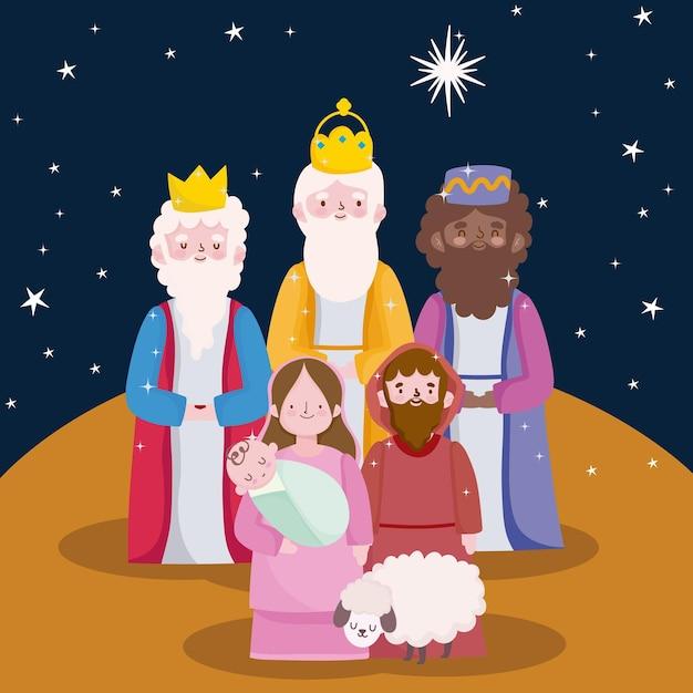Gelukkig openbaring, drie wijze koningen joseph baby jezus en schapen cartoon Premium Vector