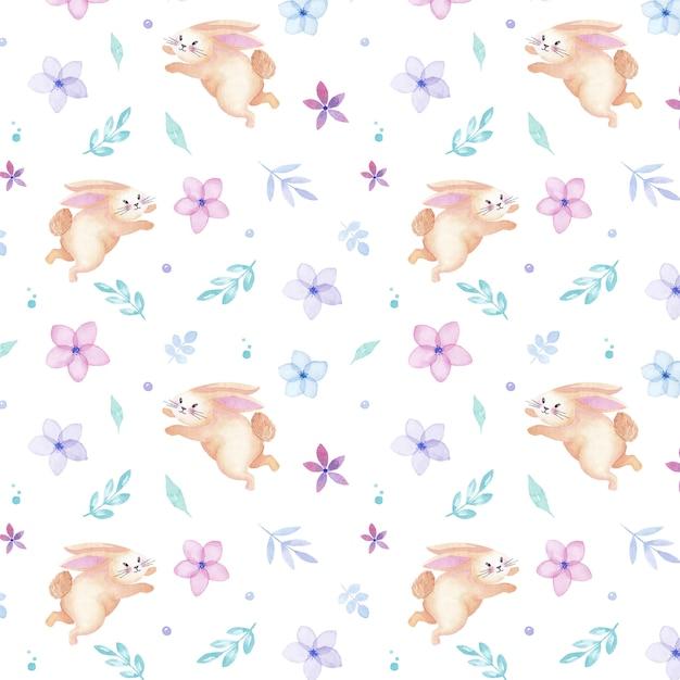 Gelukkig paasvakantie aquarel konijn naadloze patroon met bloemen en bladeren Premium Vector
