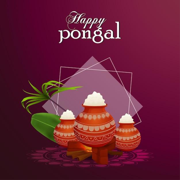 Gelukkig pongal wenskaart viering indiase festival achtergrond Premium Vector