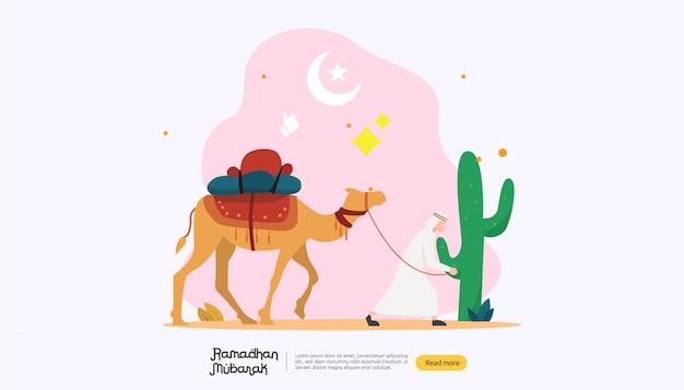Gelukkig ramadan mubarak groetconcept met mensenkarakter Premium Vector
