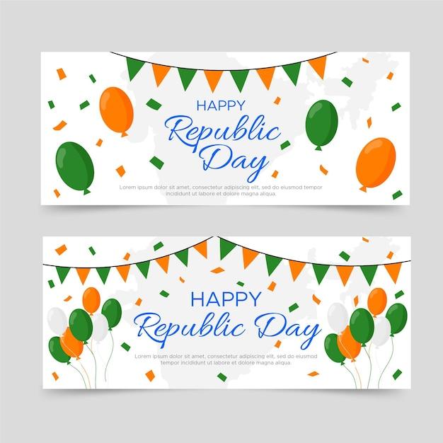 Gelukkig republiek dag banner plat ontwerp Gratis Vector