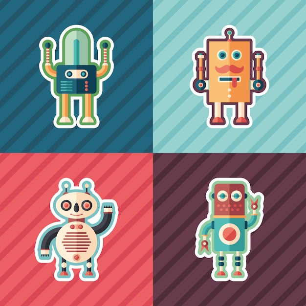 Gelukkig robots isometrische stickers set Premium Vector
