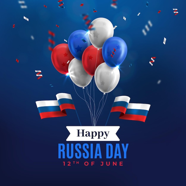 Gelukkig rusland dag ballonnen en confetti achtergrond Gratis Vector