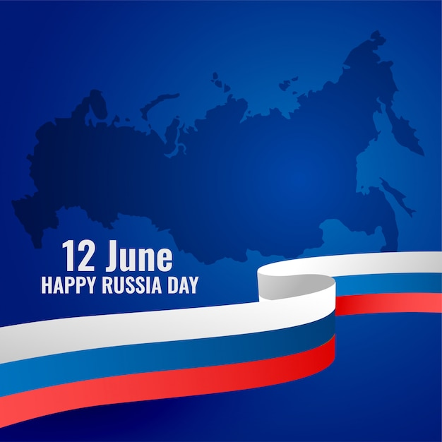 Gelukkig rusland dag patriottische posterontwerp met vlag Gratis Vector