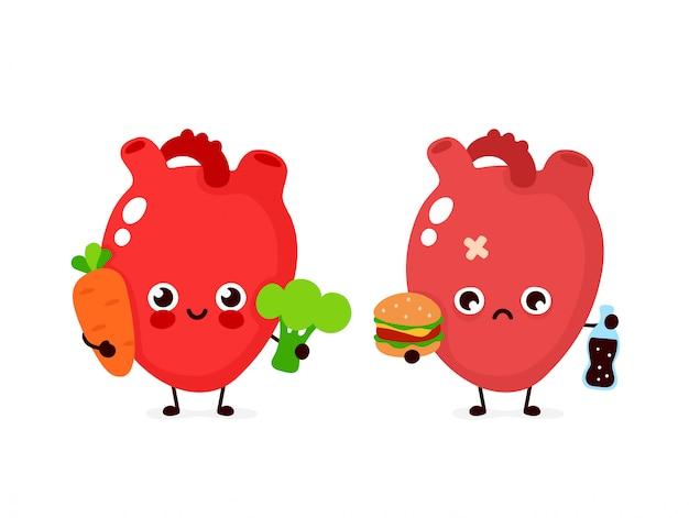 Gelukkig schattig glimlachend gezond met broccoli en wortel en triest ziek hart met fles frisdrank en hamburger. moderne stijl cartoon karakter illustratie pictogram ontwerp. gezond eten, hart concept Premium Vector