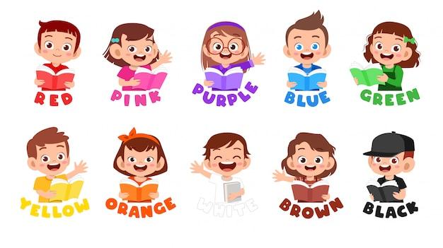 Gelukkig schattig kind draag veel kleurontwerp Premium Vector