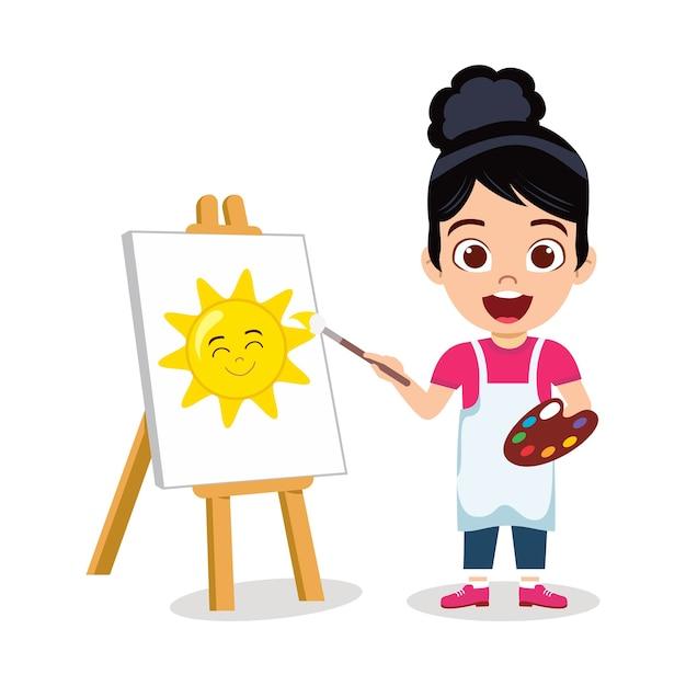 Gelukkig schattig kind meisje tekening mooie zon schilderij met vrolijke uitdrukking Premium Vector