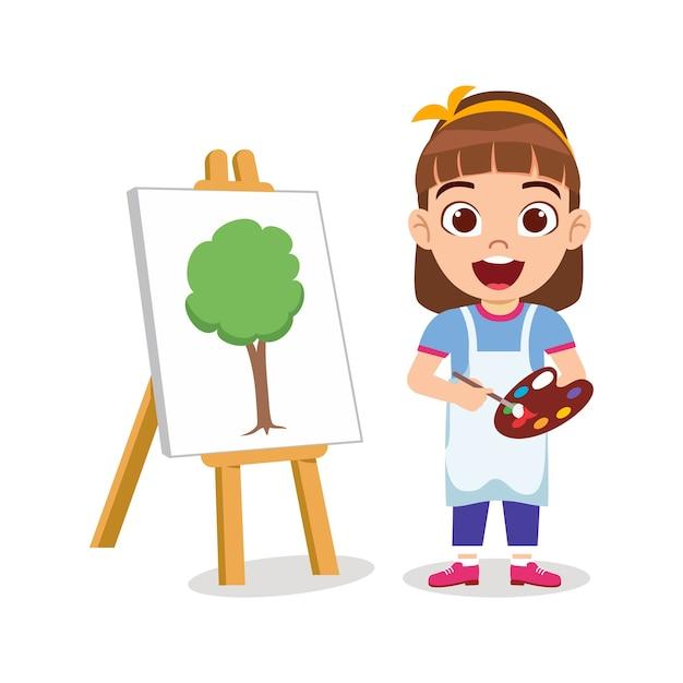 Gelukkig schattig kind meisje tekening prachtige groene boom schilderij met vrolijke uitdrukking Premium Vector