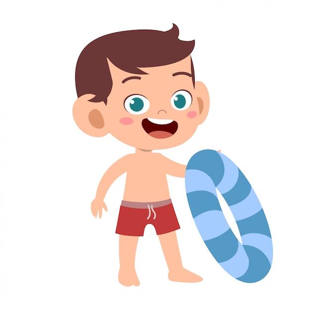 Gelukkig schattig kind met zwemring Premium Vector