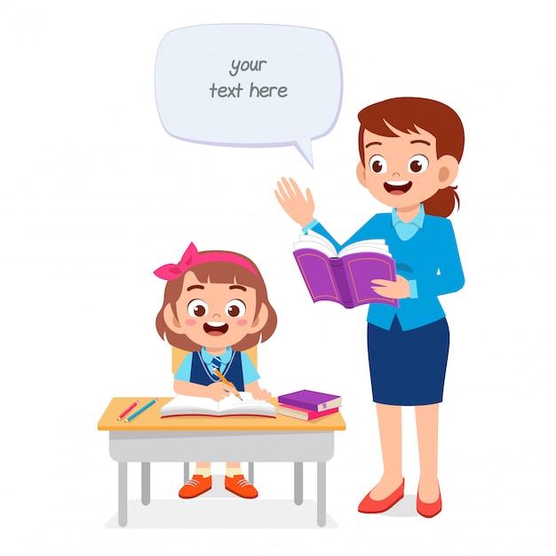 Gelukkig schattig kind studeren met leraar Premium Vector