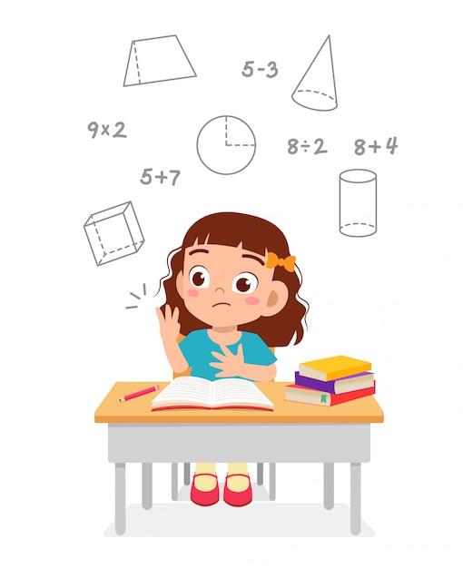 Gelukkig schattig klein kind meisje studie wiskunde Premium Vector