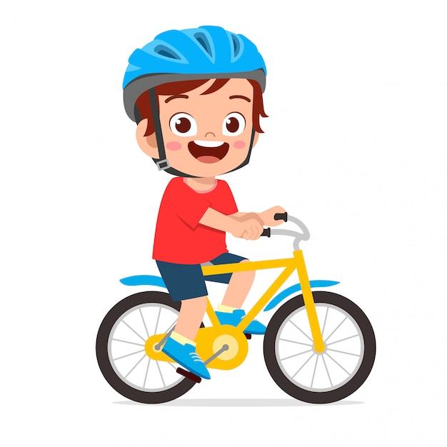 Gelukkig schattige jongen jongen rijden fiets glimlach Premium Vector