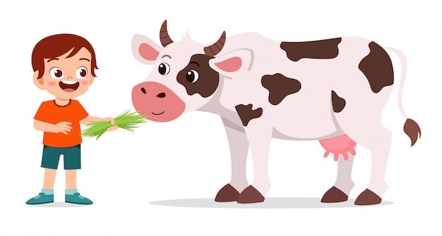 Gelukkig schattige jongen jongen schattige koe voederen Premium Vector