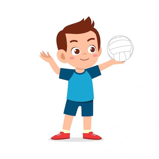 Gelukkig schattige jongen jongen spelen trein volleybal Premium Vector