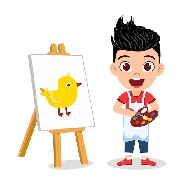 Gelukkig schattige jongen jongen tekening mooi kuiken schilderij met vrolijke uitdrukking Premium Vector