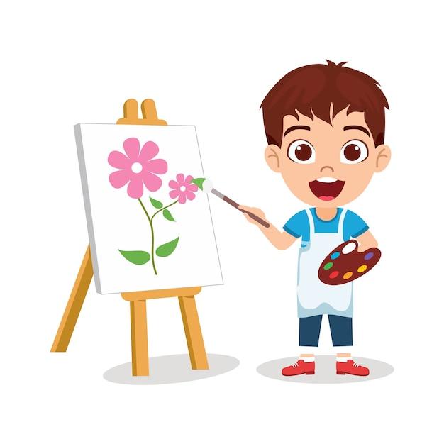 Gelukkig schattige jongen jongen tekening mooie bloem schilderij met vrolijke uitdrukking Premium Vector
