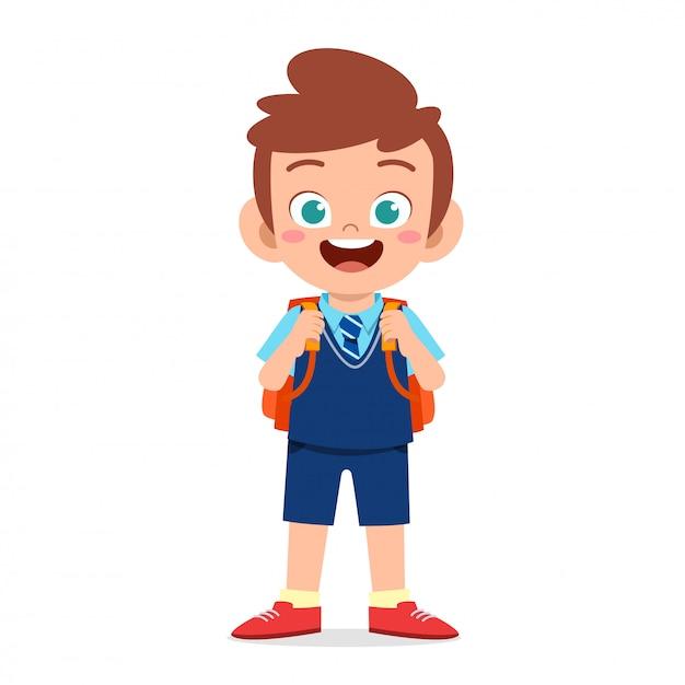 Gelukkig schattige jongen klaar om naar school te gaan Premium Vector