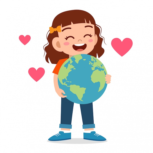Gelukkig schattige jongen meisje knuffel kleine aarde Premium Vector