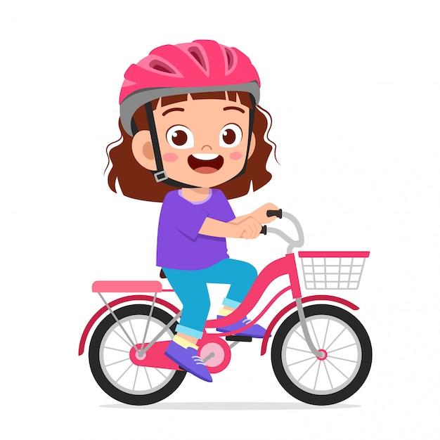 Gelukkig schattige jongen meisje paardrijden fiets glimlach Premium Vector