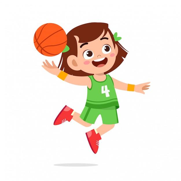 Gelukkig schattige jongen meisje spelen trein basketbal Premium Vector