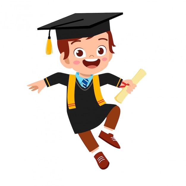 Gelukkig schattige kleine jongen jongen afgestudeerd van school Premium Vector