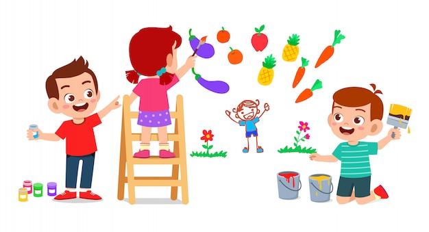 Gelukkig schattige kleine jongen jongen en meisje samen tekenen met verf op de muur Premium Vector