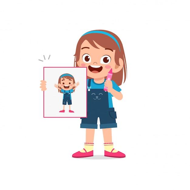 Gelukkig schattige kleine jongen jongen en meisje tekenen met krijt op papier Premium Vector