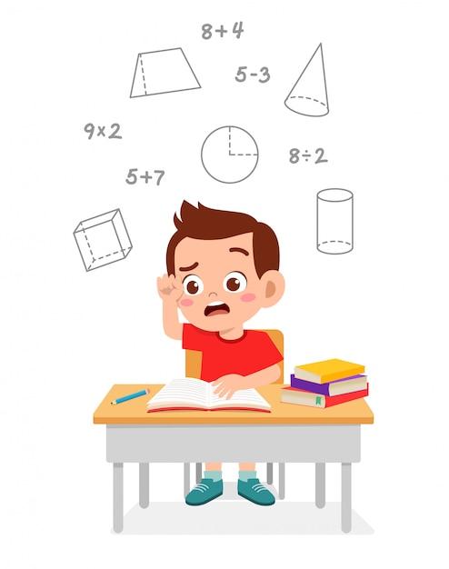 Gelukkig schattige kleine jongen jongen studie wiskunde Premium Vector