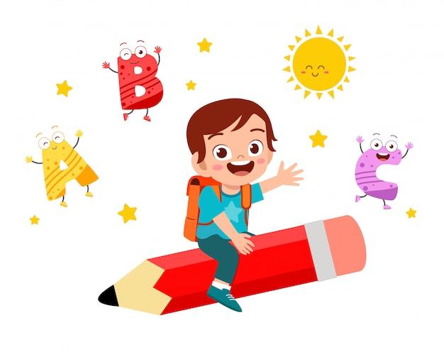 Gelukkig schattige kleine jongen jongen vliegen met potlood Premium Vector