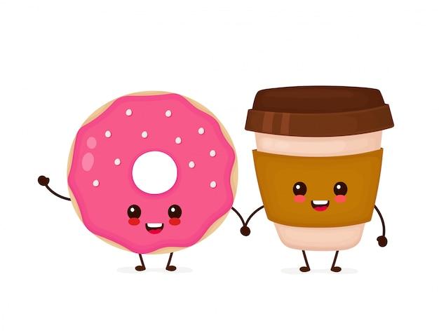 Gelukkig schattige lachende donut en koffie papieren beker. platte cartoon karakter illustratie pictogram. geïsoleerd op wit. schattig donut en koffie karakter Premium Vector