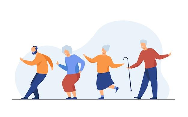Gelukkig senior mensen dansen op feestje Gratis Vector