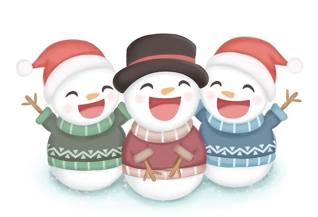 Gelukkig sneeuwpop illustratie voor kerstdecoratie Premium Vector