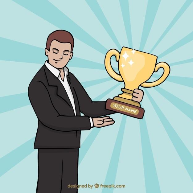 Gelukkig stripfiguur winnen van een prijs Gratis Vector