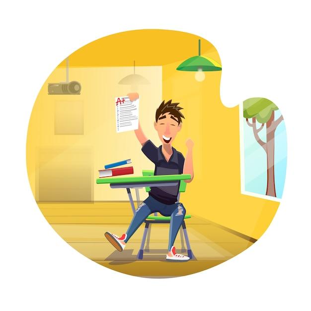 Gelukkig student resultaat perfect test results cartoon Premium Vector