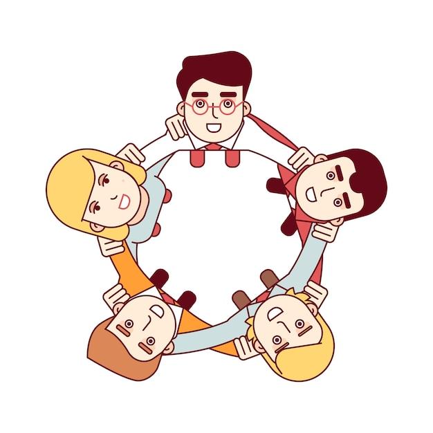 Gelukkig teamwerk concept. luchtfoto Gratis Vector