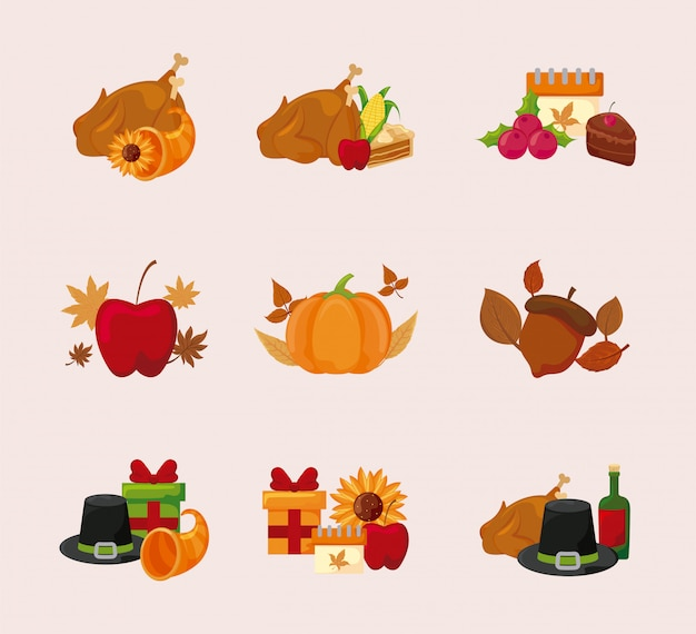 Gelukkig thanksgiving day pictogram vastgesteld vectorontwerp Premium Vector