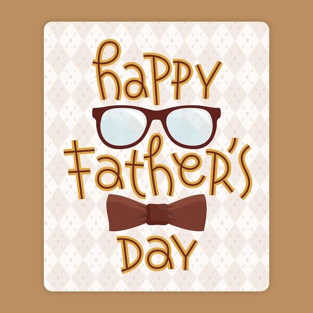 Gelukkig vaderdag met bril en strikje Gratis Vector