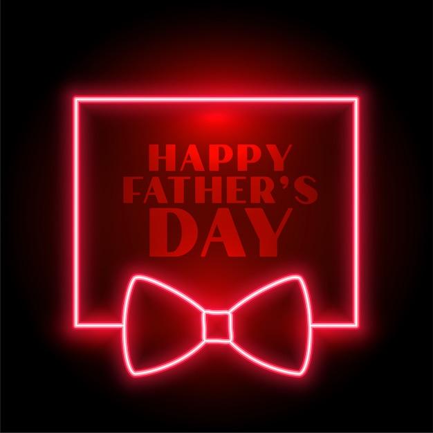 Gelukkig vaders dag neon achtergrond met strik Gratis Vector