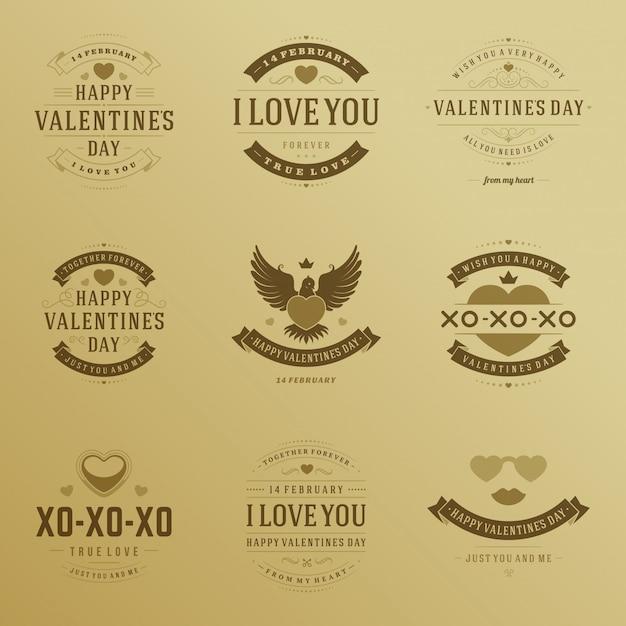 Gelukkig valentijnsdag badges typografieontwerp met vector geplaatste het ontwerpelementen van decoratiesymbolen Premium Vector