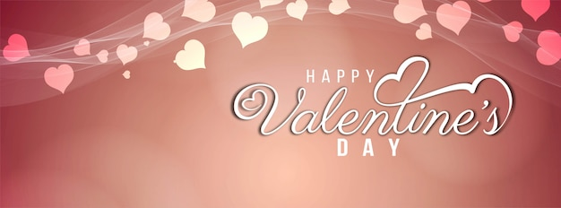 Gelukkig valentijnsdag banner stijlvolle sjabloon Gratis Vector