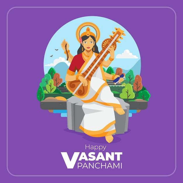 Gelukkig vasant panchami vlakke afbeelding wenskaart Premium Vector