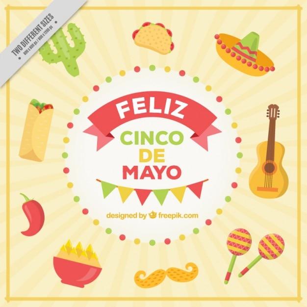 Gelukkig vijf mei met mexicaans eten en elementen Gratis Vector