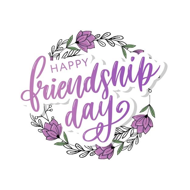 Gelukkig vriendschap dag wenskaart met bloemen krans en paarse letters Premium Vector