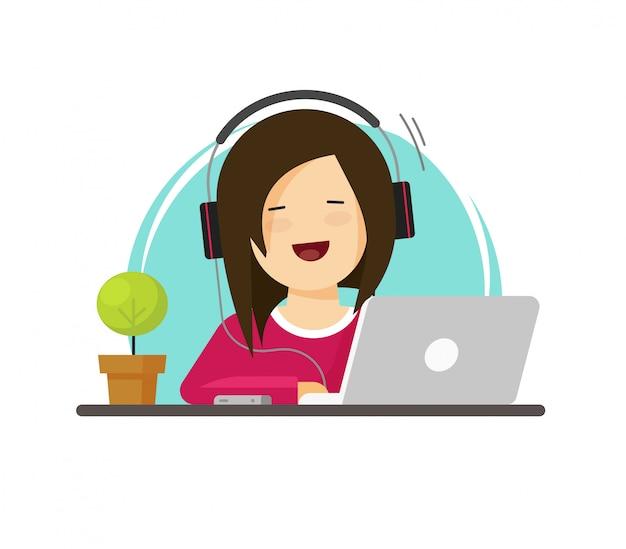Gelukkig vrouw of meisje die aan laptop computer vectorillustratie vlak karton werken Premium Vector