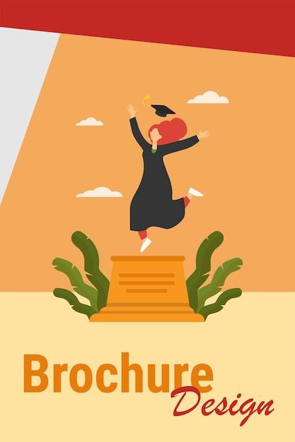 Gelukkig vrouwelijke student afstuderen vieren. studie, diploma, pet platte vectorillustratie. onderwijs- en kennisconcept voor banner, websiteontwerp of bestemmingswebpagina Gratis Vector