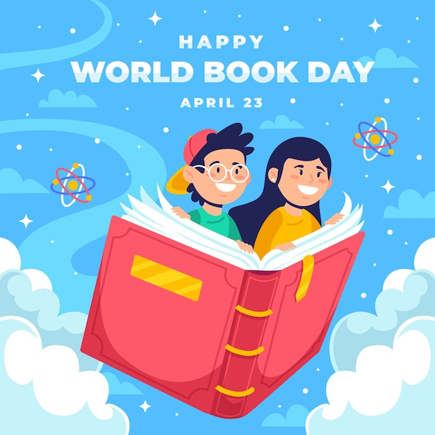 Gelukkig wereld boek dag achtergrond Gratis Vector